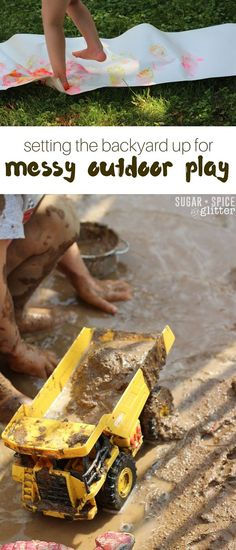 Inspiring ideas for bringing messy play outdoors for an enriched sensory experience - and to make clean up easier. Child-sized fairy gardens, outdoor art experiences, mud pits and more - get inspired and set your backyard up for messy memory-making #BringTheTropicsHome ad