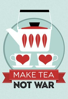 "make tea, not war . Grete Prytz Kittelsen, Norwegian designer, Cathrineholm, Halden, Norway. ""Lotus"""