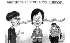 SCMP Harry cartoon relating to talks with students and HK government