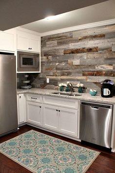 Basement Kitchen with a DIY Weathered Wood Backsplash