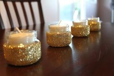 glitter baby food jar candles