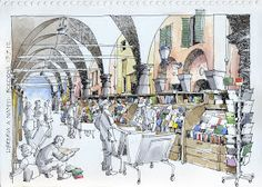 JR Sketches: Italia 5º Set 2012. 17x24, Pen & Watercolor