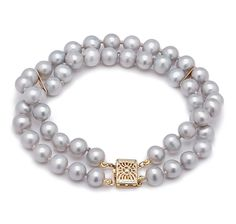 14K Yellow Gold 2-Row Freshwater Pearl Bracelet gift for mother of the bride at the shopping channel $199.99