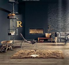 LIKE THE ANTLER STOOL AND THE RUG #industrial chic living room