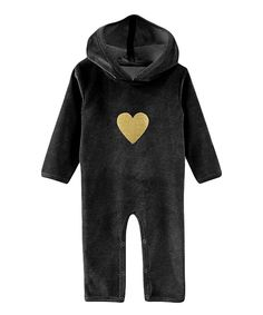 607a18202 Look at this A.T.U.N. Black & Gold Heart Long-Sleeve Hooded Playsuit -  Infant
