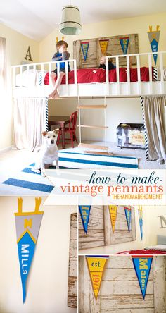 How to make personalized vintage pennants with your kids via @thehandmadehome #diy #tutorial #craft