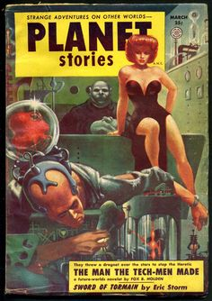 Say, lady - d'you mind not doing that inside? He was just about to finish me off! Kelly Freas - 1954 Planet Stories