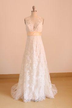 Simple A-line Lace Wedding Dress Bridal Long Wedding Gown Beach Wedding Dress
