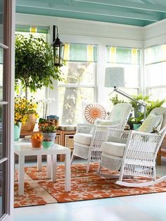sunroom ceiling color? Yes please!