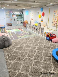 Basement playroom ideas that inspire imaginative play for toddlers, pre-schools, and elementary age kids! Basement playroom ideas that inspire imaginative play for toddlers, pre-schools, and elementary age kids! Basement Daycare Ideas, Unfinished Basement Playroom, Ikea Kids Playroom, Kids Basement, Playroom Organization, Playroom Design, Basement Bedrooms, Kids Bedroom, Organization Ideas