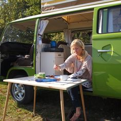 Volkswagen Bus... it is fixed up so cute inside! doing this once out of college cause ill have no money!!