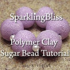 Easy Basic Tutorial Polymer Clay Sugar Beads by ChellaBellaPapers Polymer Clay Canes, Fimo Clay, Polymer Clay Projects, Polymer Clay Beads, Clay Tutorials, Beading Tutorials, Sugar Beads, Clay Design, Clay Charms