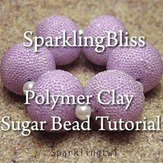 Easy Basic Tutorial Polymer Clay Sugar Beads by ChellaBellaPapers Polymer Clay Charms, Polymer Clay Creations, Polymer Clay Beads, Fimo Clay, Ceramic Clay, Clay Tutorials, Beading Tutorials, Sugar Beads, Clay Design