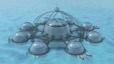 Phil Pauley's Sub-Biosphere 2 is a self sustaining underwater city for 100 inhabitants.