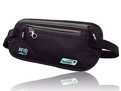 Money Belt black with keyGuard - undercover RFID safe passport and credit card holder - waist stash with 25-60 inches belts size - convenient hidden travel wallet for men