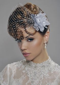 Wedding Veil - Handmade Birdcage - Silver Blusher with Flower and Swarovski Crystal - made to order. $55.00, via Etsy.