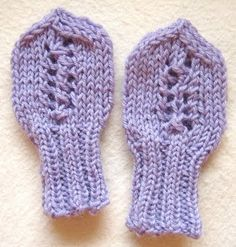 Purple crafts: Knitted baby mittens - vauvan lapaset