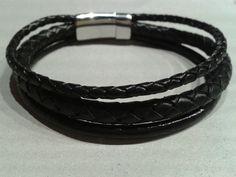 leather bracelet men black