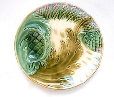 St Amand Barbotine Antique French Asparagus Plate   I really love these fancy (dare I say gaudy) Barbotine (or Majolica ) plates intended for