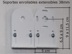 Medidas de los soportes para estores enrollables utilizados con tubos de 38mm de diámetro. Ideal para salvar obstáculos en instalaciones a pared. Estores a medida DIY  www.cortinarium.com