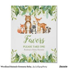 Woodland Animals Greenery Baby Shower Favors Sign 1st Birthday Girls, 1st Birthday Parties, Birthday Signs, Baby Shower Favors, Baby Shower Parties, Shower Party, Woodland Animals, Woodland Creatures, Woodland Forest