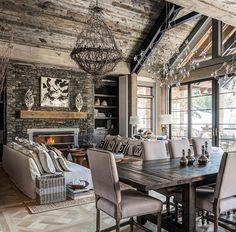 You can find this modern chalet design in the USA. The chalet is located near the ski resort. Modern Farmhouse Living Room Decor, Living Room Interior, Rustic Farmhouse, Living Rooms, Farmhouse Ideas, Modern Living, Rustic Homes, Farmhouse Style, Modern Room