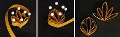 Fan-husking - leaf shapes, quilling, paper filligree