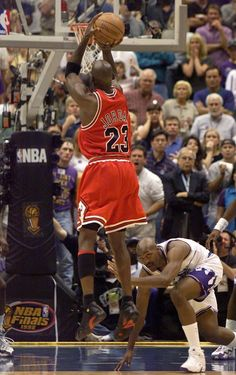 The Last Dance in 1998 when Michael Jordan scored this Championship clinching jumper for the Chicago Bulls over Bryon Russell in Game 6 of their NBA Finals rematch with the Utah Jazz.