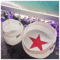 Basket Nautical Style, Maritime Table Centre, Sailcloth Star Storage, Shallow Basket, Housewarming Basket, Gift Idea, Daily Storage Nautical Rope, Nautical Style, Housewarming Basket, Nautical Purses, Solid Waste, Circular Economy, Sailing Outfit, Table Centers, Nautical Fashion
