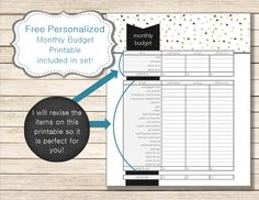 Personalized monthly budget included FREE with budget printable set purchase. Adorable designs, helps make all this responsibility stuff easier and more fun. www.etsy.com/shop/chaosmadesimple & www.chaosmadesimple.com