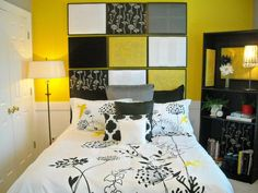 Budget-Friendly Headboards: When choosing a headboard, pick one bright color as your inspiration. Rate My Space contributor  sford used yellow, black and white pieces of fabric and old frames to create a fun, dramatic effect in her bedroom. From DIYnetwork.com
