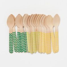 Chevron Gelato Spoons | hand-printed on Grade-A biodegradable birch spoons in summery hues are warm weather essentials!