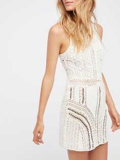 Nikki Flook Alora Crochet Mini Dress at Free People Clothing Boutique