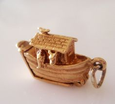 RESERVED 9ct Gold Noah's Ark Charm - hallmarked IJLd London Year 1959
