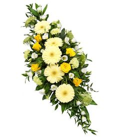 Funeral Sprays are a popular tribute expressing sympathy. Traditionally sprays come in both single ended and double ended designs. Double ended Sprays sometimes referred to as Casket Sprays are often used to adorn a Casket with great splendour. Flower Wreath Funeral, Funeral Flowers, Wedding Flowers, Yellow Flower Arrangements, Funeral Floral Arrangements, Floral Centerpieces, Arte Floral, Funeral Caskets, Casket Flowers