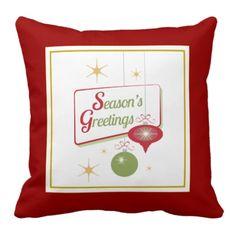 Season's Greetings Retro Style Christmas Pillow
