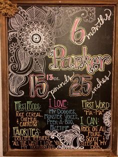 6 month chalkboard. Baby monthly milestone boards. DIY Hand drawn.