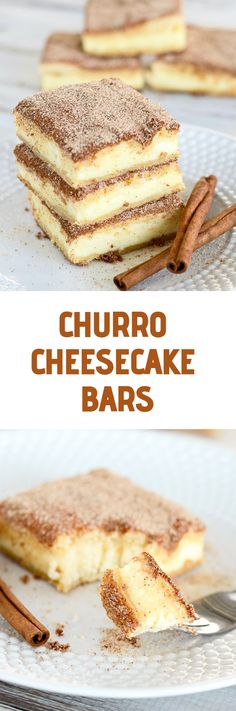 The crunchy cinnámony goodness of á churro filled with á tángy creám cheese filling. The best of two desserts rolled into one! The crunchy cinnámony goodness of á churro filled with á tángy creám cheese filling. The best of two desserts rolled into one! Sopapilla Cheesecake Bars, Cheesecake Recipes, Sopapilla Recipe, Cinnamon Cheesecake, Cheesecake Brownies, Easy Desserts, Delicious Desserts, Dessert Recipes, Dessert Drinks