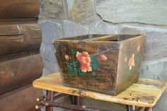 Antique Primitive Wood Basket  Wooden Carrier  by Vintassentials, $140.00