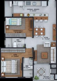 Apartamento com 2 Quartos à Venda, 64 m² por R$ 270.000 Sao Joao, Itajaí, SC, Foto 10 2bhk House Plan, House Layout Plans, Modern House Plans, House Layouts, Small House Plans, House Floor Plans, Home Building Design, Home Design Plans, House Design