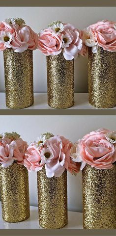 3 Gold Glitter Vases Birthday Party Decoration Centerpieces #GlitterDecorations #GlitterBirthday