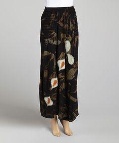 Gray Floral Maxi Skirt