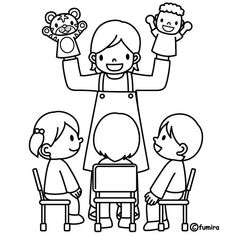 Coloring Pages: Theacher with puppets, free coloring pages