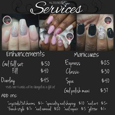Price List Design for Nail Salon (DESIGN) in 2019 | Products | Nail ...