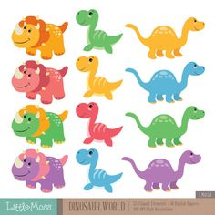 Papeles y dinosaurio Digital Clipart por LittleMoss en Etsy