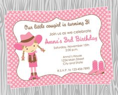 DIY Pink Cowgirl Birthday Party Invitation by PinkMonkeyPrints