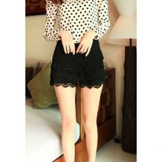 New Style Elastic Waist Lace Embellished Black Lace Women's Shorts, BLACK, ONE SIZE in Pants & Shorts | DressLily.com