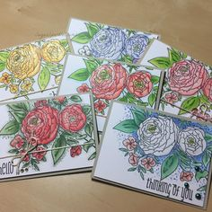 WPLUS9 Ranunculus stamp. Copic colouring, and Wink of Stella clear glitter pen.