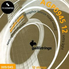 AGP 0945 12 strings extra-light .009-.009-.013-.013-.021-.008-.029-.016- .036-.026-.045 ProCoated Phosphor Bronze It's our passion for strings, lasting for generation, together with the best technology available, which makes Galli ProCoated strings the most outstanding product in our catalogue.