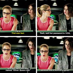 """I'm in. She has a file names 'Oliver Queen info' because she's SUPER original"" - Felicity and Thea #Arrow"